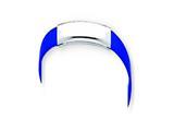 Sterling Silver Dark Blue Rubber Bracelet style: QG1105