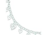 Sterling Silver 7inch Polished Dangling Cut-out Hearts Charm Bracelet style: QG1172