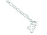 "Sterling Silver 10"" Solid Polished Fancy Cross Anklet style: QG1186"