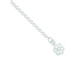 Sterling Silver Open Link With Flower Anklet style: QG1354