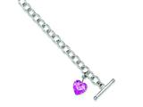 Sterling Silver Pink Cubic Zirconia Heart Bracelet style: QG1477