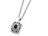 Sterling Silver Onyx and Marcasite Square Locket W/chain style: QG1938