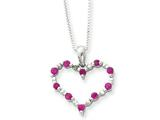 Sterling Silver Ruby Heart Necklace style: QG1960