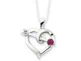 Sterling Silver Heart With A Ruby Arrow Necklace style: QG1962