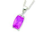 Sterling Silver Cushion Cut Pink And Clear Cubic Zirconia Necklace style: QG1971