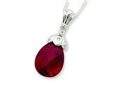 Sterling Silver Dark Red Cubic Zirconia Tear Drop Necklace style: QG1982