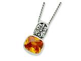 Sterling Silver Antiqued Yellow Cubic Zirconia Necklace style: QG2004