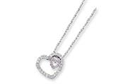 Sterling Silver Pink And Clear Cubic Zirconia Double Heart Necklace style: QG2015