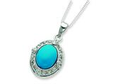 Sterling Silver Oval Turquoise And Cubic Zirconia Necklace style: QG2024