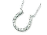 Sterling Silver Cubic Zirconia Horse Shoe Necklace style: QG2033