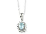 Sterling Silver Blue Topaz And Cubic Zirconia Necklace style: QG2049