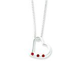 Sterling Silver Heart W/red Cubic Zirconia Necklace style: QG2070