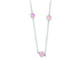 Sterling Silver Pink Cubic Zirconia Extension Necklace style: QG2091