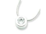 Sterling Silver Cubic Zirconia Round Pendant On 18 Chain Necklace style: QG20