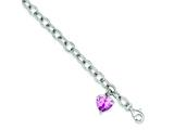 Sterling Silver Rolo With Pink Cubic Zirconia Heart Bracelet style: QG2174