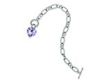 Sterling Silver Lavender Cubic Zirconia Heart Bracelet style: QG2181