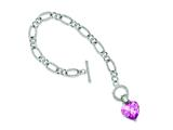 Sterling Silver Pink Cubic Zirconia Heart Bracelet style: QG2182