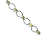 Sterling Silver Antiqued Champagne Cubic Zirconia Bracelet style: QG2183