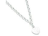 Sterling Silver Embossed Heart Dangle Necklace style: QG2467