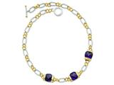 Sterling Silver Vermeil Purple Cubic Zirconia Necklace style: QG2486