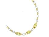 Sterling Silver Vermeil Light Yellow Cubic Zirconia Necklace style: QG2487