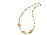 Sterling Silver Vermeil Champagne Cubic Zirconia Necklace style: QG2491