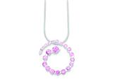 Sterling Silver Pink Cubic Zirconia Journey Necklace style: QG2508