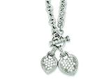Sterling Silver Double Cubic Zirconia Heart Dangle Necklace style: QG2543