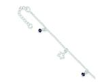 Sterling Silver Cubic Zirconia And Star Charm Bracelet style: QG2580