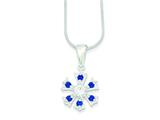 Sterling Silver Cubic Zirconia Snowflake 18 Inch Necklace style: QG2585