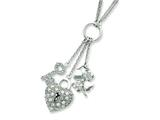 Sterling Silver Heart Cubic Zirconia Drop Necklace style: QG2588