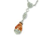 Sterling Silver Champagne and Clear Cubic Zirconia Necklace style: QG2606