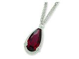 Sterling Silver Dark Red Cubic Zirconia Necklace style: QG2610