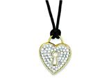 Sterling Silver Vermeil Cubic Zirconia Heart Black Wool Cord Necklace style: QG2628