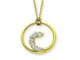 Sterling Silver Vermeil Cubic Zirconia Circle Journey Necklace style: QG2631