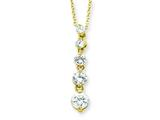 Sterling Silver Vermeil Cubic Zirconia Journey Necklace style: QG2633