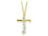 Sterling Silver Vermeil Cross Journey Necklace style: QG2635