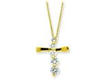 Sterling Silver Vermeil Cross Journey Necklace style: QG2636