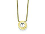 Sterling Silver and Vermeil Cubic Zirconia Pendant On 18 Chain Necklace style: QG26