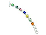 Sterling Silver Mulitcolor Dichoric Glass 8in Toggle Bracelet style: QG2750