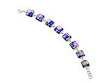 Sterling Silver Pink and Blue Square Shaped Dichroic Glass 8in Bracelet style: QG2752