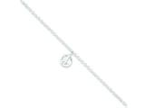 Sterling Silver 9 + 1in Ext Polished Peace Symbol Charm Anklet style: QG2796