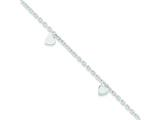 "Sterling Silver 9"" Polished Heart Anklet style: QG2810"