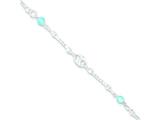 Sterling Silver and Aqua Stone Polished Children`s With 1in Ext. Bracelet style: QG2836