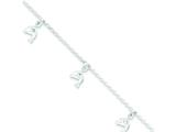 "Sterling Silver and Cubic Zirconia Polished Dolphin Children""s With 1in Ext. Bracelet style: QG2838"