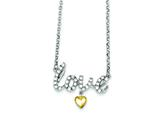 Sterling Silver and Vermeil Cubic Zirconia Love Necklace style: QG2860