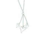 Sterling Silver Textured Fancy Heart Drop Necklace style: QG2886