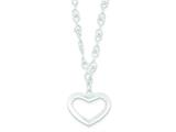 Sterling Silver Open Heart Necklace style: QG2903