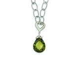 Sterling Silver Cubic Zirconia Teardrop Oval Link Necklace style: QG2911