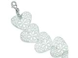 Sterling Silver Polished Fancy Heart Bracelet style: QG2958
